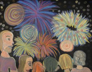 painting of six people watching fireworks
