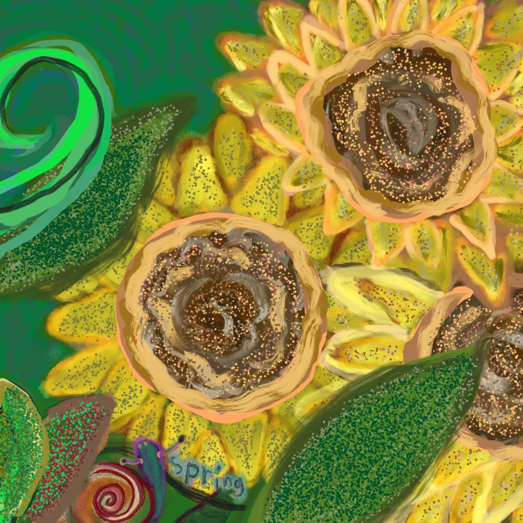 painting of three yellow sunflowers on a background of green leaves