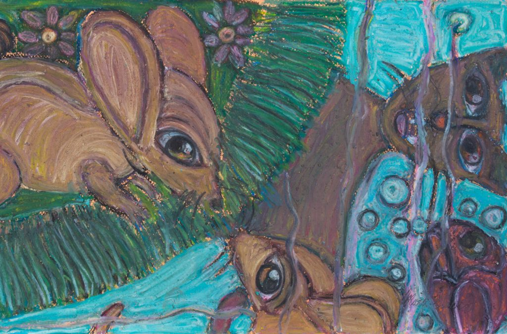painting of a mouse looking at his reflection in the water. There is also a reflection of a cat in the water