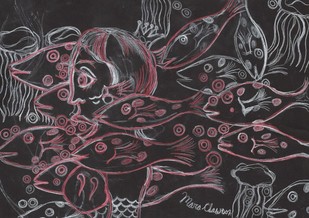 painting of a school of fish and jellyfish with a human head on a black background