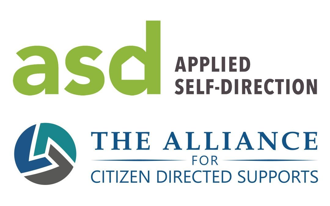 """2 logos: green letters spell asd next to """"Applied Self Direction,"""" below is a grey/blue/teal circle logo with the words The Alliance for Citizen Directed Supports"""